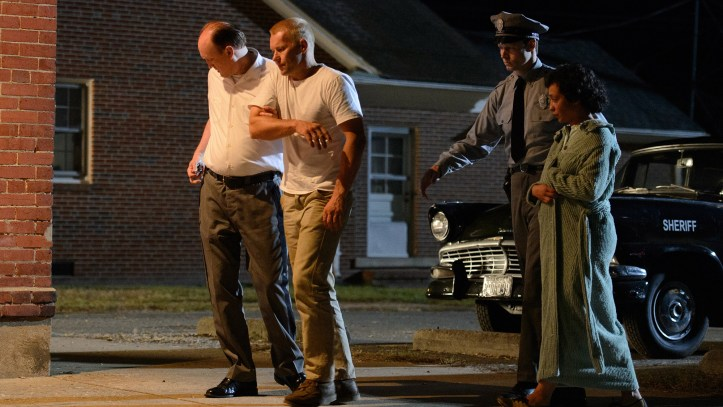 A scene depicting the 1958 arrest of Mildred and Richard Loving, in the 2016 feature film, Loving. (Focus Features)