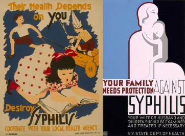 Two WPA posters from 1937 encouraging people to help prevent syphilis. (C. Y. Bienvenu/WPA War Services LA and Charles Verschuuren/WPA Federal Art Project/US Library of Congress)