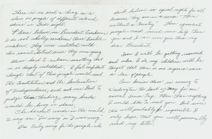 """Letter to President Dwight D. Eisenhower from Dana Anderson, who described herself as a """"typical teen-ager"""" and argued for equal rights for all, September 29, 1957. (Dwight D. Eisenhower, Records as President, White House Central Files, Bulk Mail Files, Acknowledged Letters re: Little Rock School Crisis, Box 1, A (1))"""