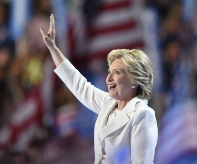 Hillary Clinton in a white suit