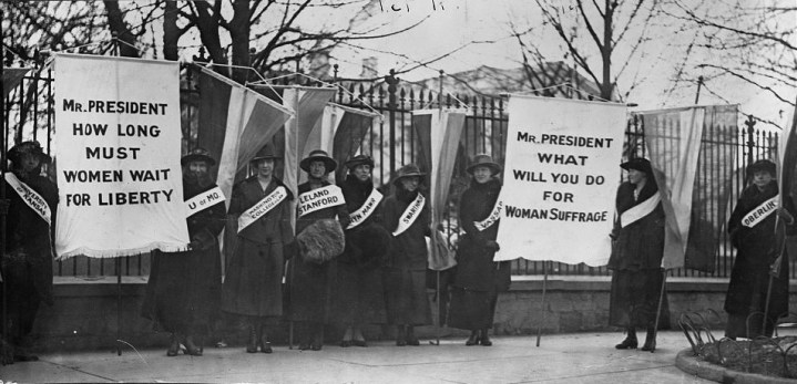 """""""The first picket line -- College day in the picket line,"""" 1917, photograph. (National Woman's Party Records/US Library of Congress)"""