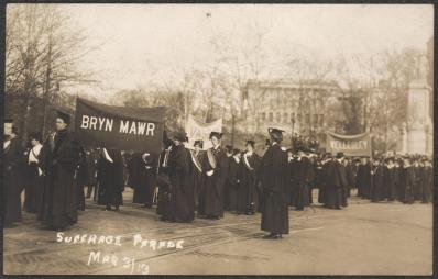 College section of the March 3, 1913, suffrage parade in Washington, DC, March 3, 1913, postcard. (Records of the National Woman's Party/US Library of Congress)