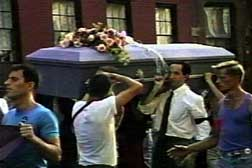 Political funeral procession for Jon Greenberg from the Lower East Side to Tompkins Square Park in July 1993. (James Wentzy/DIVA TV)