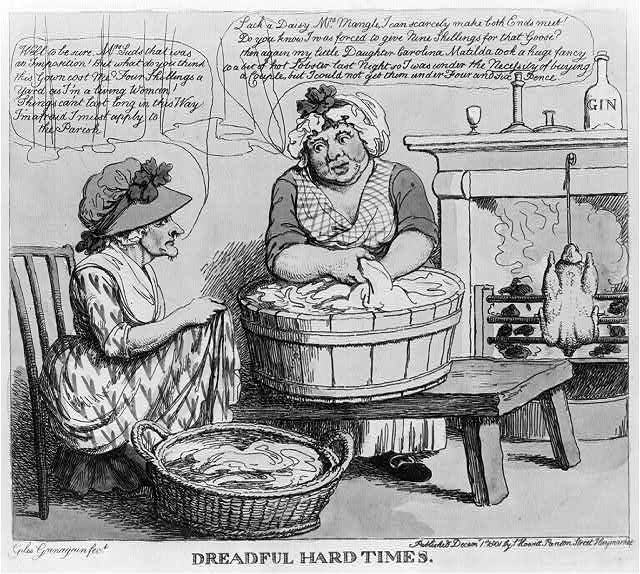 Satirical cartoon depicting two women in a room doing laundry. Woman doing laundry, roasting goose by fireplace, and complaining with another woman about the cost of living.