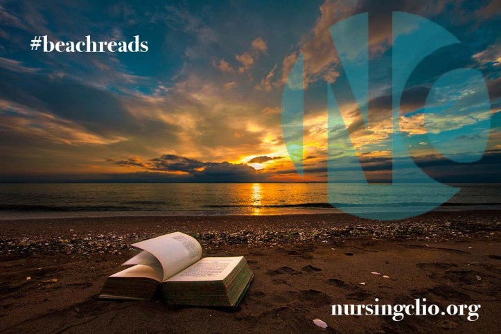 Open book on a beach at sunset, with Nursing Clio logo superimposed and hashtag BeachReads, one word.