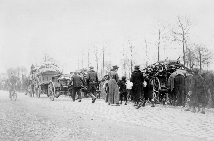 French and Belgian refugees displaced by the fighting following Germany's 1918 spring offensive during World War One, April 1918