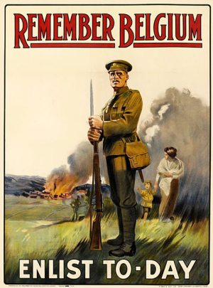 A World War I enlistment poster calling on readers to 'Remember Belgium' and 'Enlist To-day'