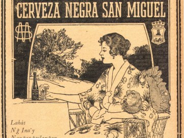Old advertisement depicting a woman seated at a table, wearing a robe and holding an infant. There is a beer on the table