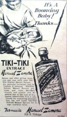Old advertisement for tiki-tiki extract showing a pencil drawing of a medicinal bottle and a doctor wearing a breathing mask showing a newborn to a woman in bed