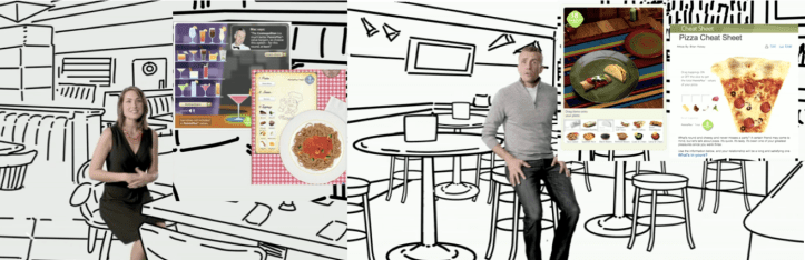 Screenshots from two Weight Watchers videos one showing a woman and a plate of whole wheat pasta and another showing a man and a slice of pizza