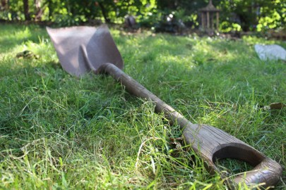 Rusty old shovel in green grass