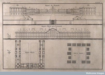 Drawing of plans for the naval hospital at Plymouth and Haslar Point. Shows seven buildings in a U formation