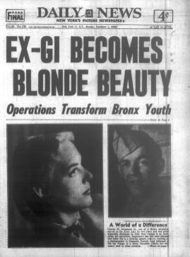 Photo of a newspaper front page with photos of Christine Jorgensen before and after surgery