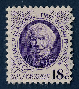 "An older white woman is centered on a stamp costing 18c, with ""Elizabeth Blackwell, First Woman Physician"" surrounding her face."