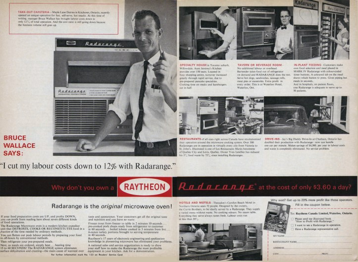 Photo of a 1964 two-page spread advertisement for the Radar Range microwave oven that promoted it mostly for business use