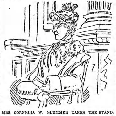Courtroom sketch of a female witness accusing WMCP alumni Dr. Mary Dixon-Jones of performing an abortion in an 1892 libel suit
