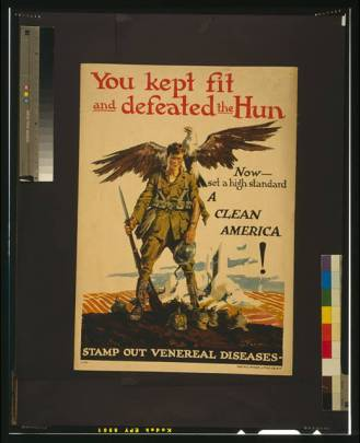 Post-World War I poster promoting health in America, showing a soldier with an eagle perched on his shoulder.