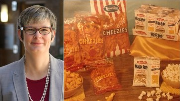 Picture of a white woman with short grey hair and glasses, next to a photo of cheese puff snacks.