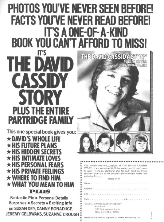 Advertisement for The David Cassidy Story, a 1971 book about Cassidy's life.