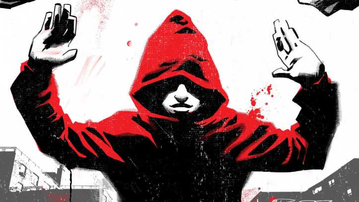 Cover of the Black showing a person in a red hoodies with their hands up surrounded by police with guns drawn and in riot gear