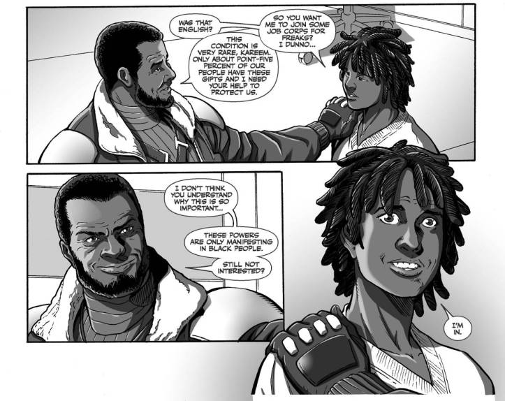 Page from issue 1 of Black showing two characters talking