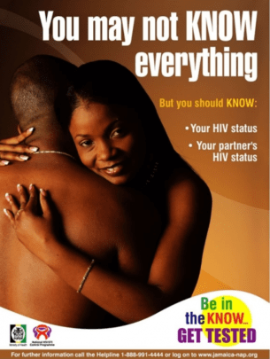 Poster with an image of a black man embracing a black woman. They appear naked.