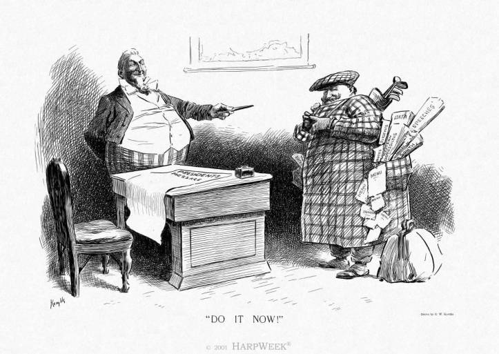 Black and white political cartoon showing President Taft as overweight.