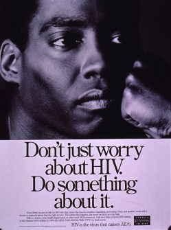 Black and white poster with black lettering. Visual image is a b&w photo reproduction featuring a man's face. Title below photo. Caption below title also urges those who test positive for HIV to seek early treatment. Publisher information near lower left corner, note near lower right corner.