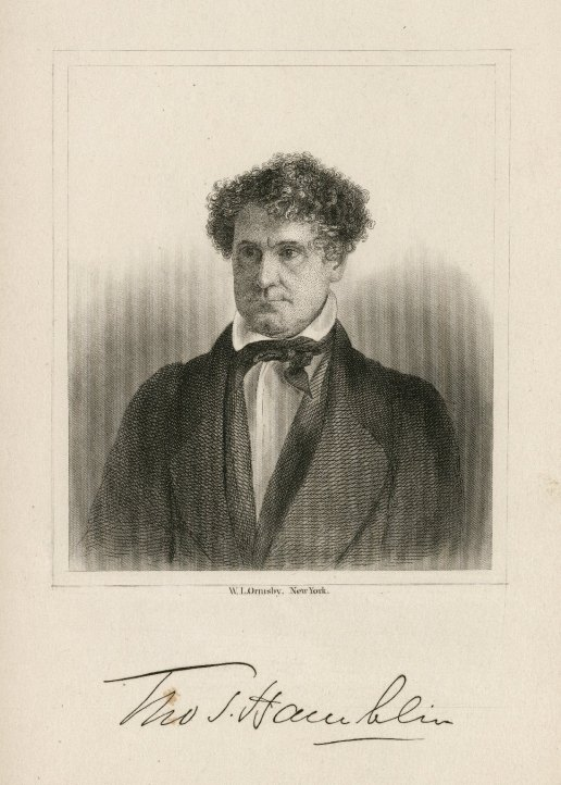 Illustrated portrait of Thomas Hamblin, depicting a middle-aged man with curly hair, with his name in script font underneath.