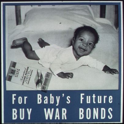 World War II poster showing a smiling baby on a bed next to a war bonds document with text that reads For Baby's Future Buy War Bonds.