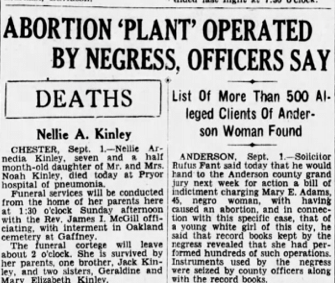 Newspaper clipping with the headline: Abortion 'Plant' operated by negress, officers say, Deaths, List of more than 500 alleged clients of Anderson woman found.