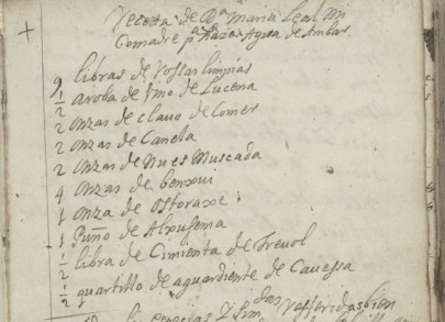 An old page of a manuscript with a handwritten recipe in Spanish.