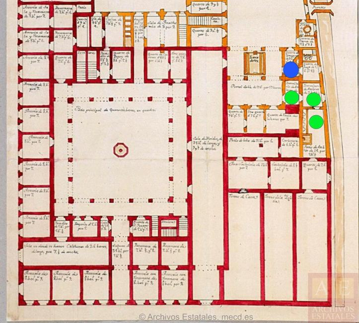 Architectural floorplan of the Indian Hospital with a single large central area with a hall to the east and side-by-side rooms to the north, south, and west. More rooms line the building to the east of the central hall, with three in the far northeast side of the building for making atoles.