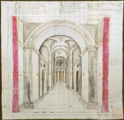An architectural drawing of the interior hallway of a hospital with a large archway leading into a long hall with a tall, arched ceiling with doors along the sides.
