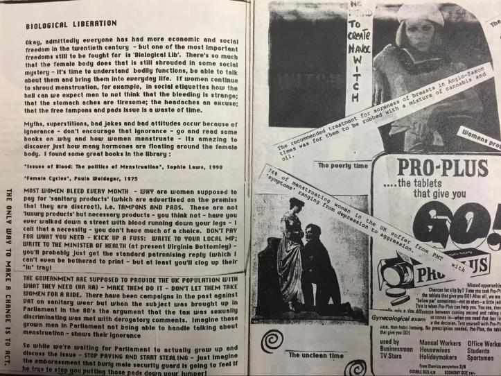 "A two-page spread of the Heavy Flow zine with an article titled ""Biological Liberation"" on the left and a collage of advertisements on the right with captions overlaid."