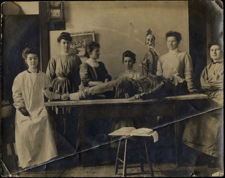 Six women in full-length operating gowns standing side by side behind a table with a partially dissected cadaver on it. A stool in the foreground has an open book on it and a human skeleton stands in the background.