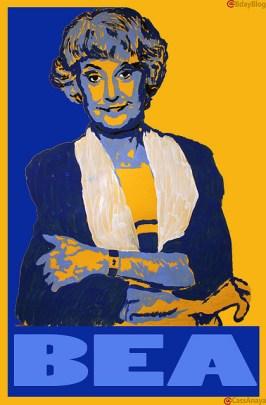 Colorful depiction of Bea Arthur, who plays Dorothy on <i>Golden Girls</i>.