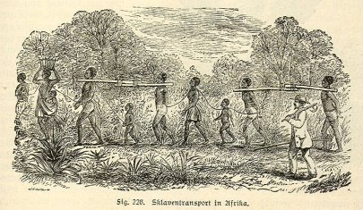 Drawing of enslaved black men, women, and children, chained together and marching.