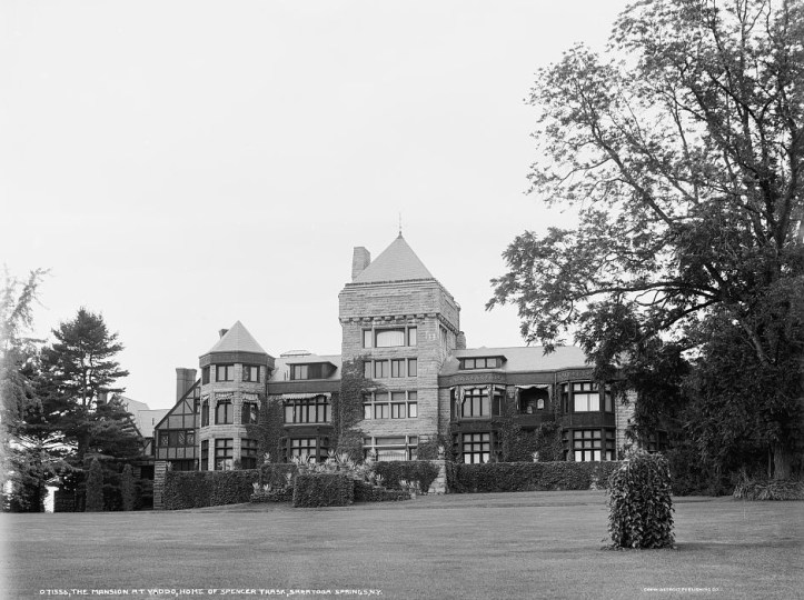 A large, ornate mansion with plentiful windows sits atop a small hill surrounded by a large lawn and trees.
