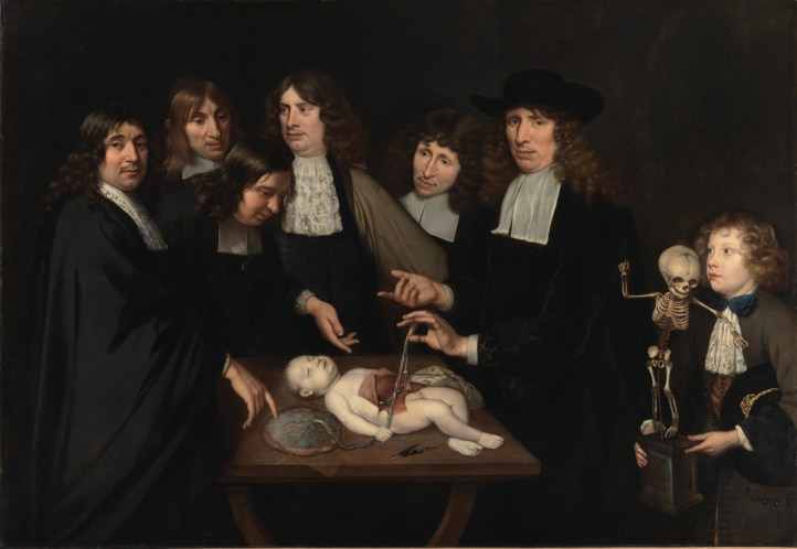 Six men stand at a table where a newborn child, whose umbilical cord is connected to placenta on the table. The strand is held by the professor Ruysch. On the far right is a boy who wears the skeleton of a child on a wooden base.