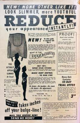 An advertisement for a girdle with the large words Reduce at the top.