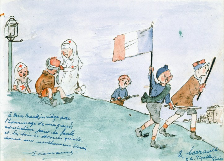 Watercolor picture showing Red Cross nurses assisting a child while other people march with French flag and swords.