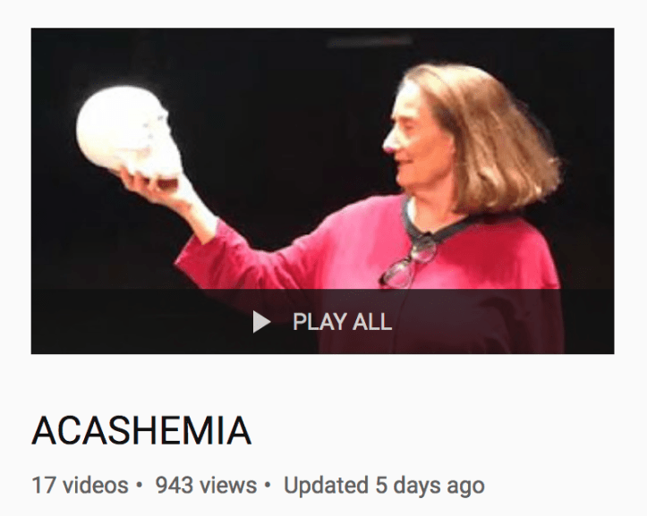 A white woman holds a skull like Hamlet.