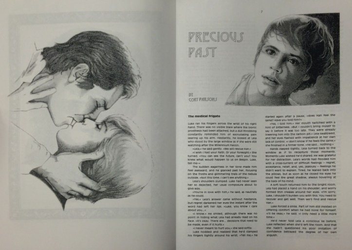 """An open newsletter showing a large illustration of Han Solo and Luke Skywalker kissing on the left-hand page and on the right-hand page the beginning of a story titled """"Precious Pasts"""" with a portrait illustration of Luke Skywalker."""