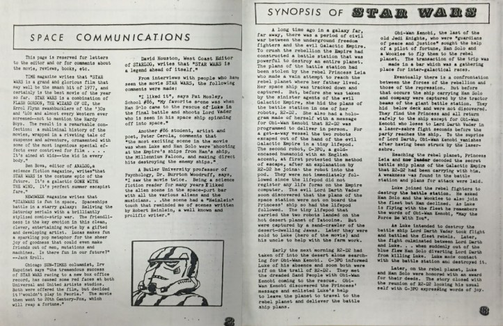 """An open newsletter style fanzine showing an article titled """"Space Communications"""" and """"Synopsis of Star Wars"""" with a small illustration of a storm trooper's head in the lower right of the left-hand page."""