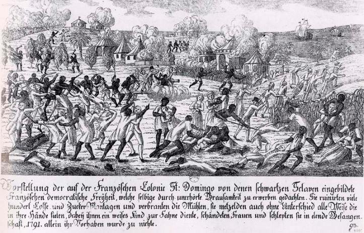 Drawing of enslaved people revolting.