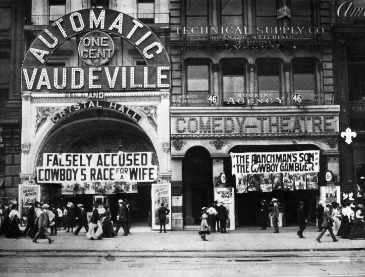 The ticket box of a large theater advertising vaudeville.