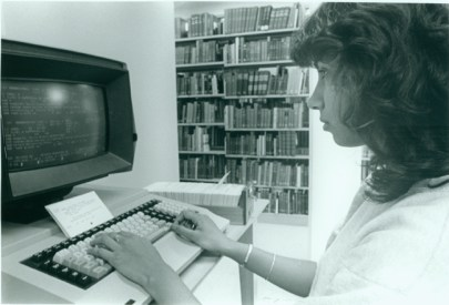 A Sweet Briar student using an early computer in the Mary Helen Cochran Library, 1982. (Mary Helen Cochran Library/Flickr)
