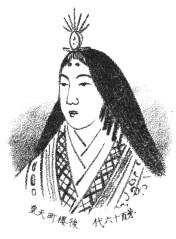 Drawing of a woman with her face angled to the left. She is wearing a small crown, looks impassive, and wears a multilayered kimono.