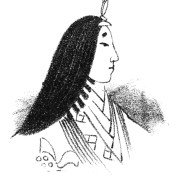 Drawing of the progile of a woman with long black hair and a layered kimono.